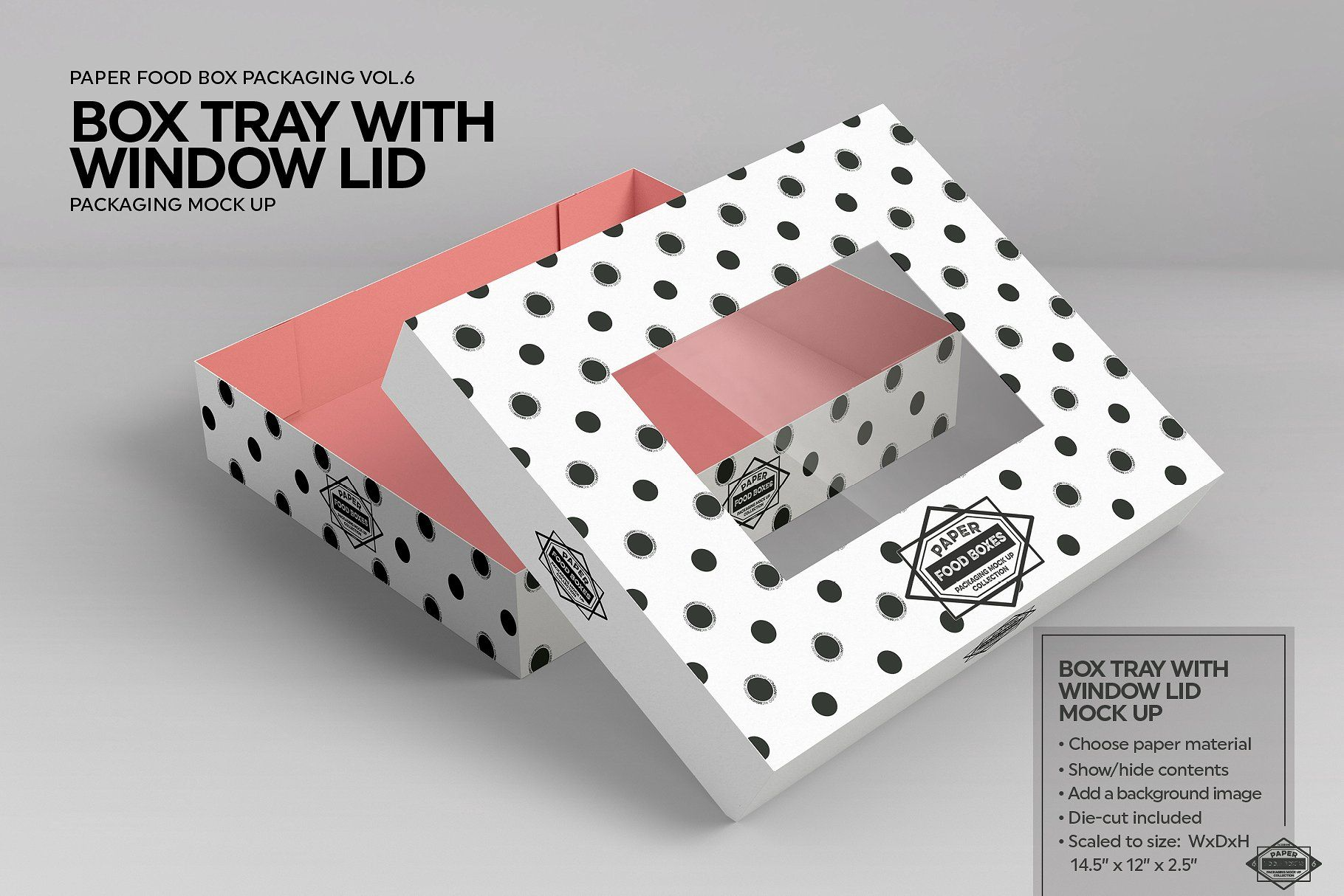 Download Box Tray Window Lid Packaging Mockup Packaging Mockup Free Packaging Mockup Food Box Packaging