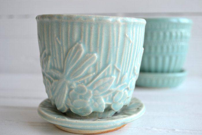 Vintage Turquoise Mccoy Dragonfly Flower Pot Planter Vintage Flower Pots Antique Pottery Vintage Pottery