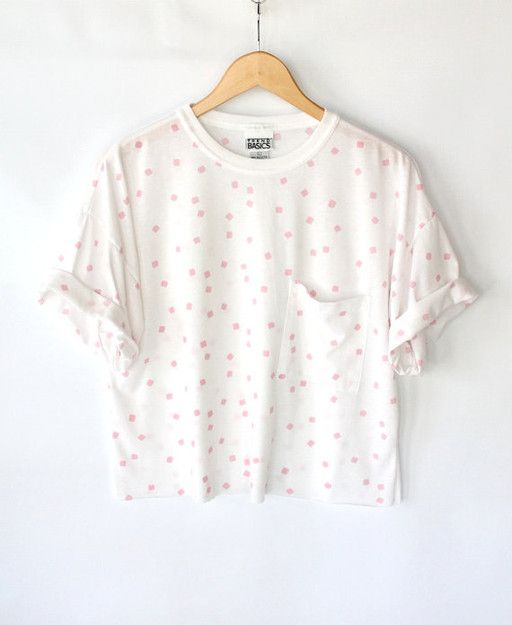Vintage 80s White Cropped Pocket Tee with Pink Square Print // Worn In Cotton Tshirt