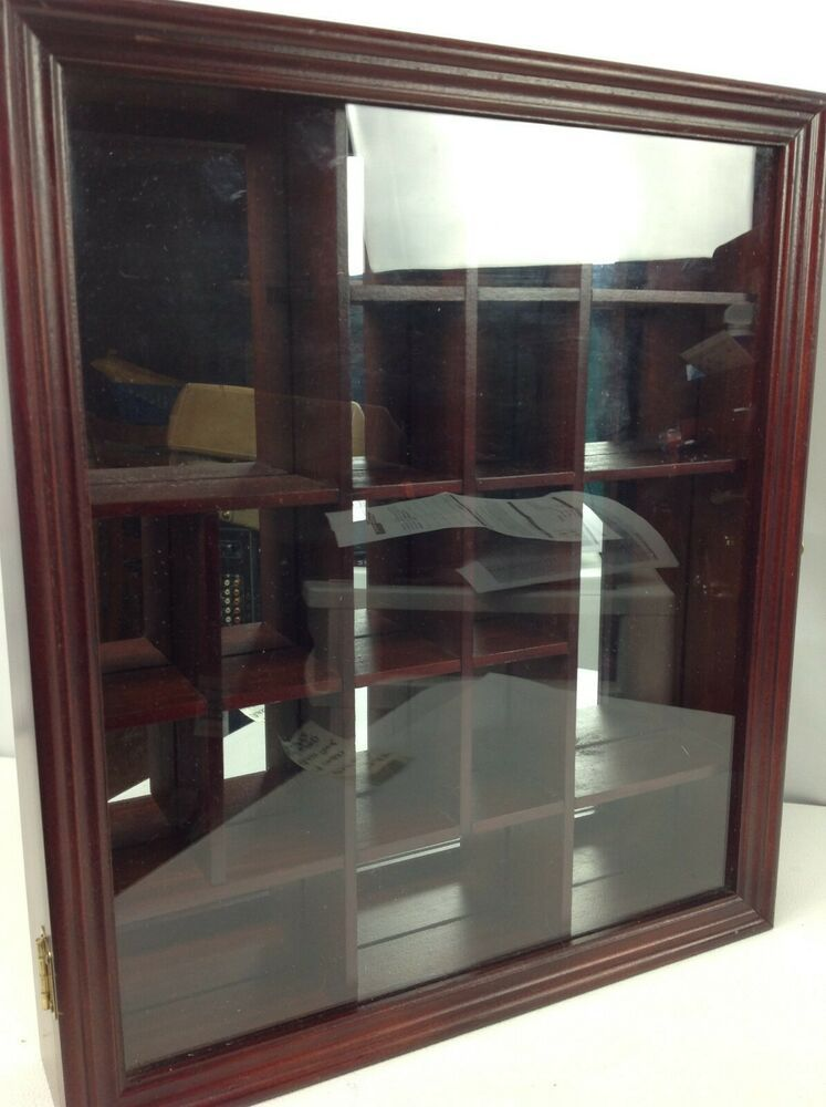 Vintage Smc Wood Curio Cabinet Miniature Shadow Box Wall Display Case Glass Door Selectmerchandisecompanysm Glass Shelves Ikea Curio Cabinet Wall Display Case
