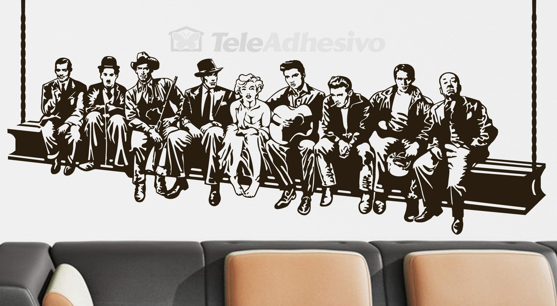 Hollywood Hills Fenêtre Scène Wall Art Vinyl Autocollant Décalque Signe la transfert