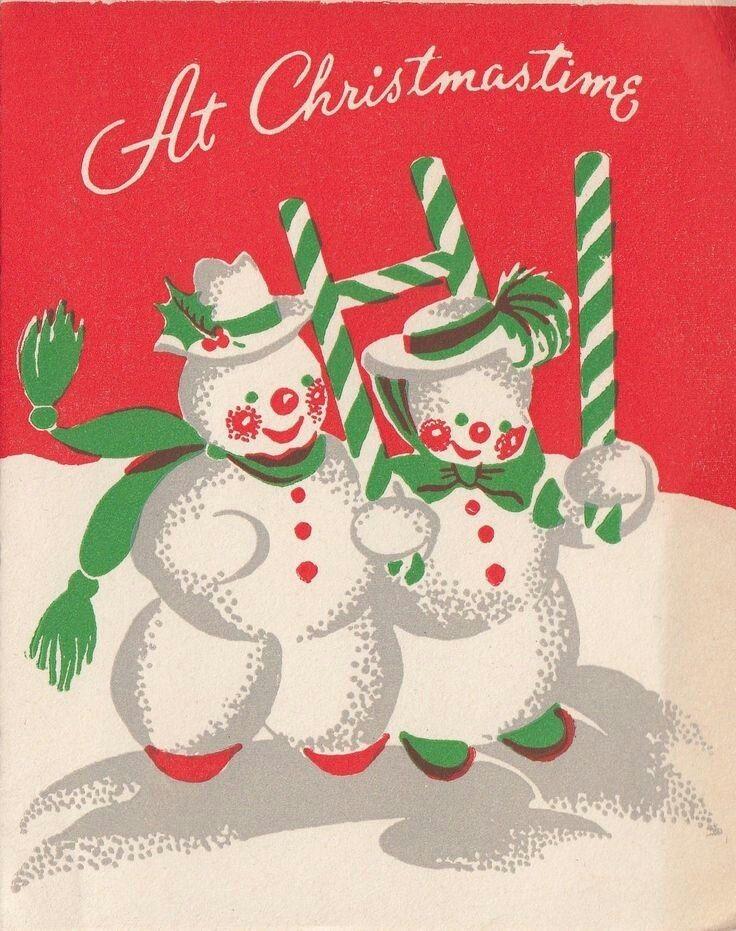 Christmas greeting snowmen Pinterest Vintage christmas