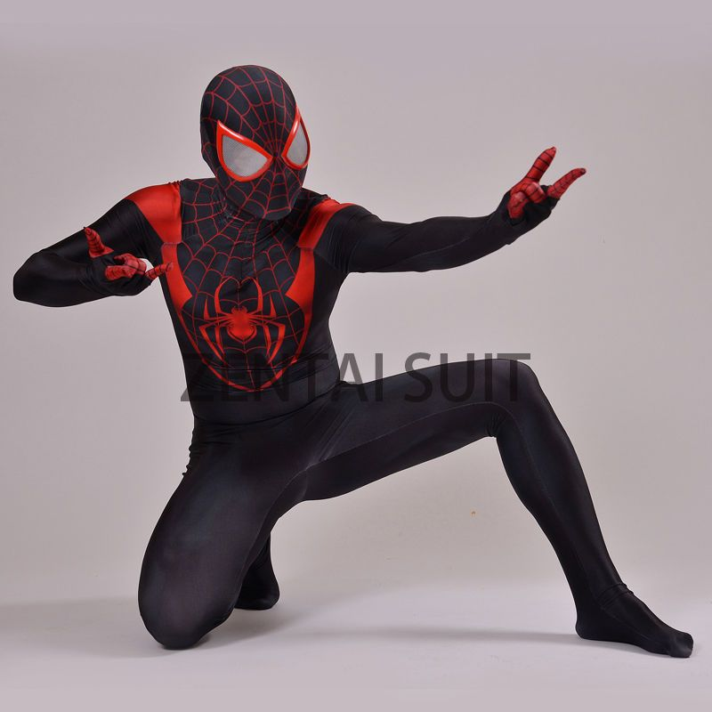 Cool Spiderman Costume Ultimate Miles Morales Superhero Spider-Man Cosplay  Sui 040919ca9b7b