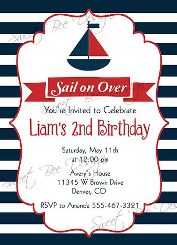 Nautical Birthday Invitation Baby Shower Party Boy Birthda