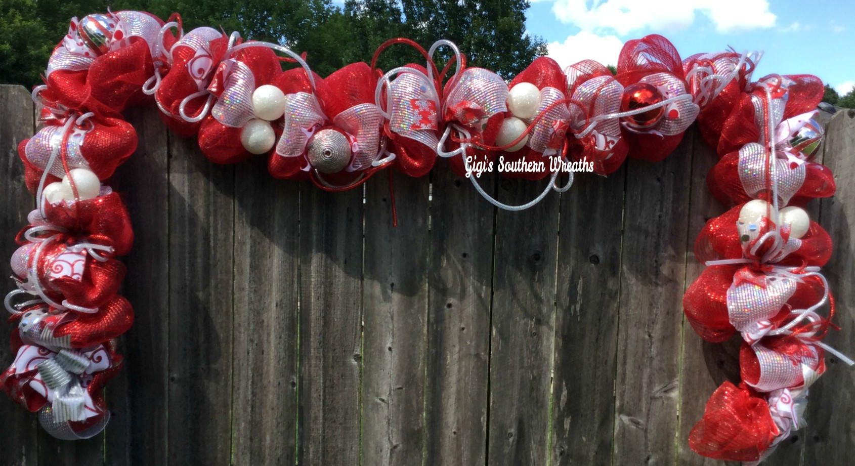 9 Ft Garland Red White And Silver Christmas Mantle Door Deco Mesh By Gigissouthernwreaths On Etsy