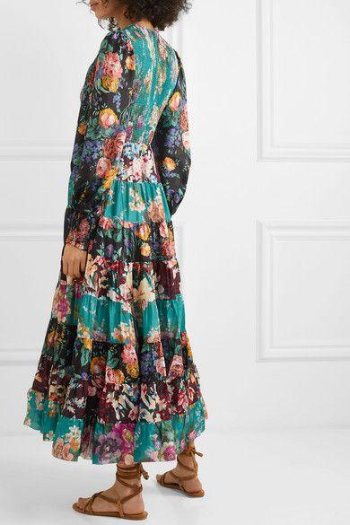 Zimmermann Allia Tiered Floral Print Silk Maxi Dress In