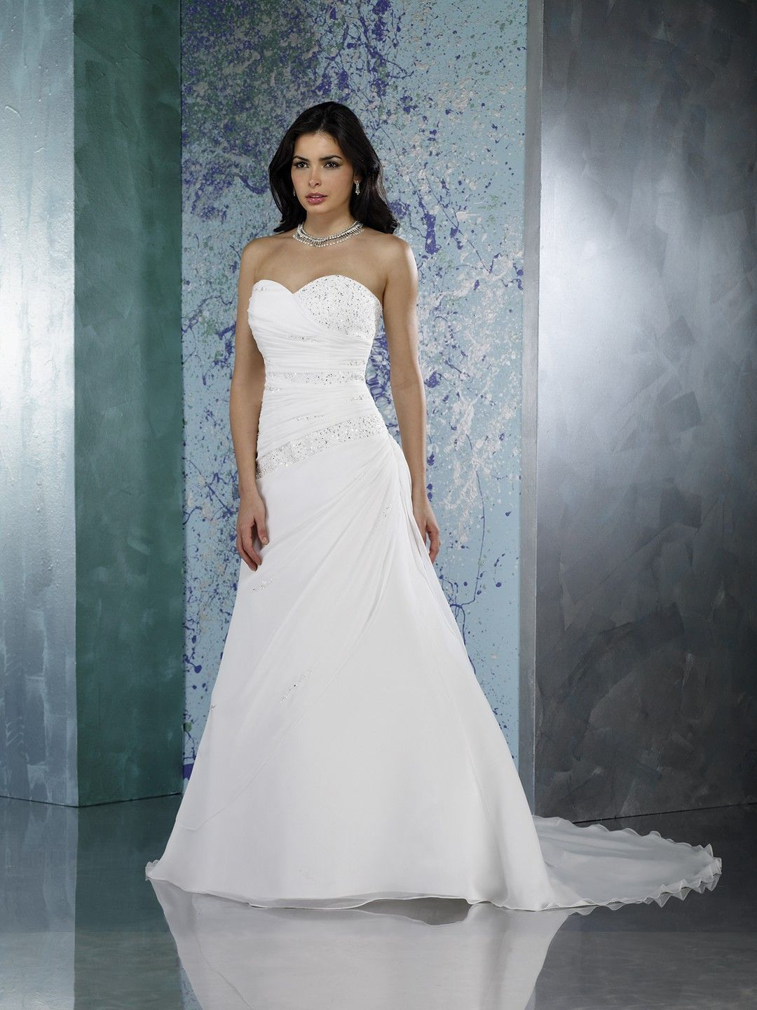A line Sweetheart Beaded and ruched Bodice Chapel Train Chiffon ...