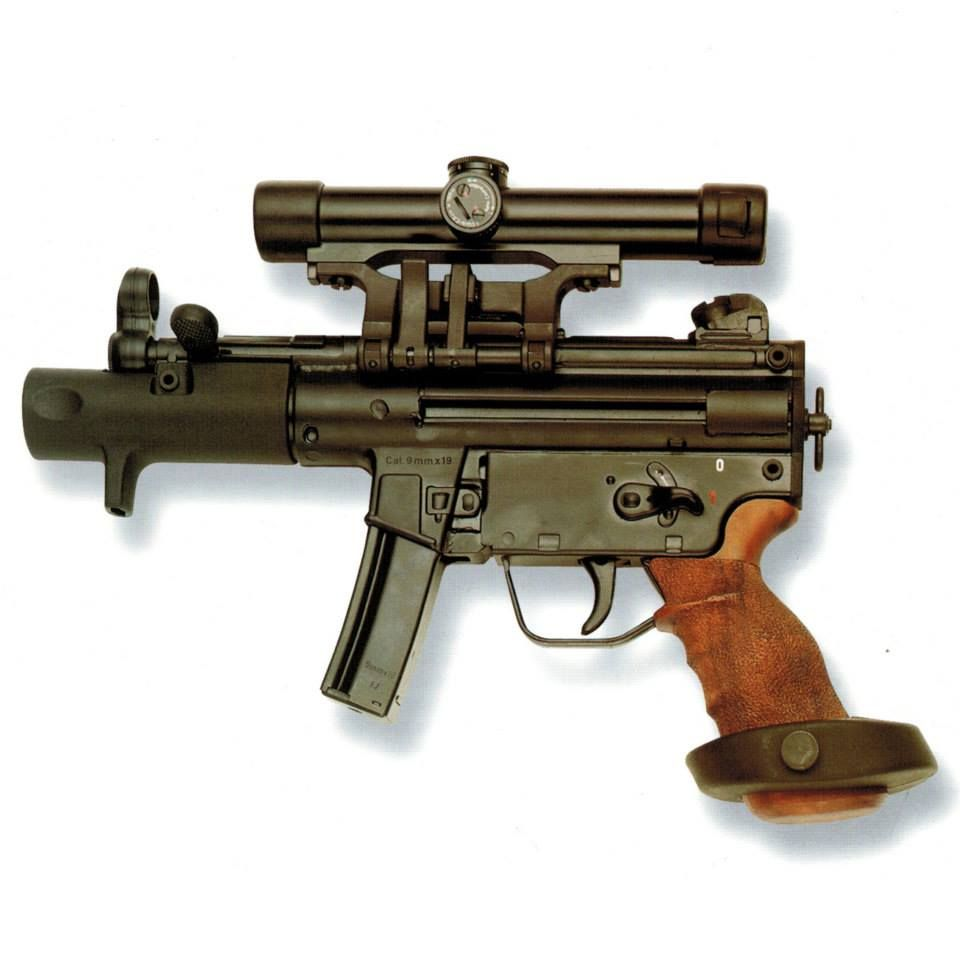 HK History Book: pg 233 You name it and it can be put on this gun.  The HK SP89 was retrofitted for civilian use and all accessory items of the MP5K can be fitted to it.