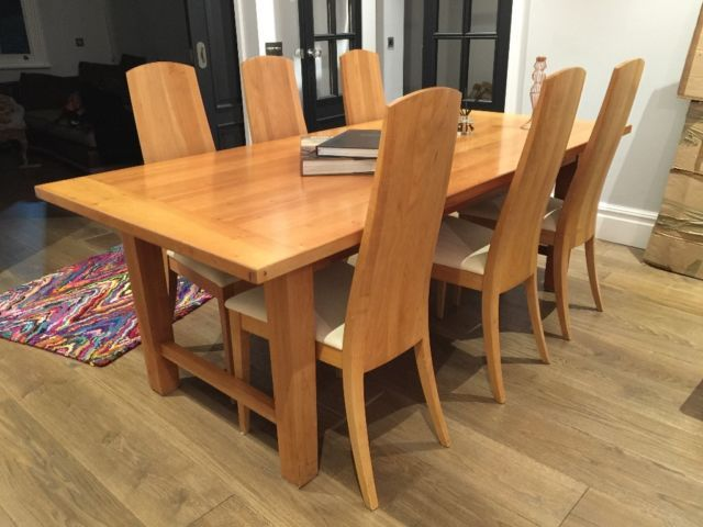 Stunning Solid Cherry Wood Dining Table And 6 Designer Chairs On Gumtree.  Ive Just Refurbished