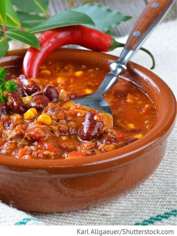 Chili con Carne Hot meat dish with chili peppers  Mexican recipes  Nordamerikanische Küche