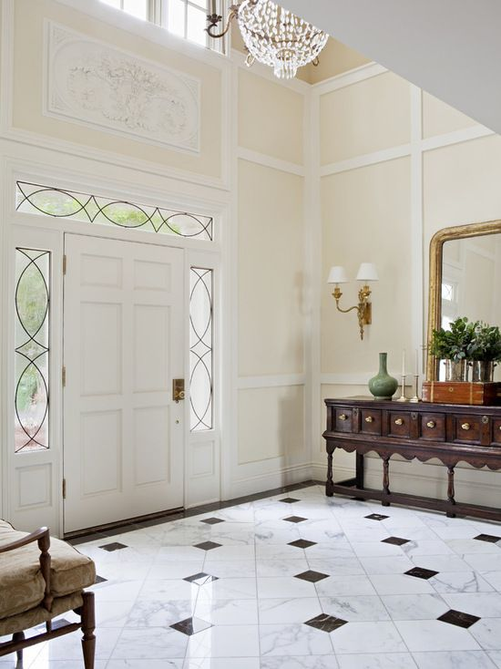 Classic foyer design marble flooring marble flooring for Classic foyer design