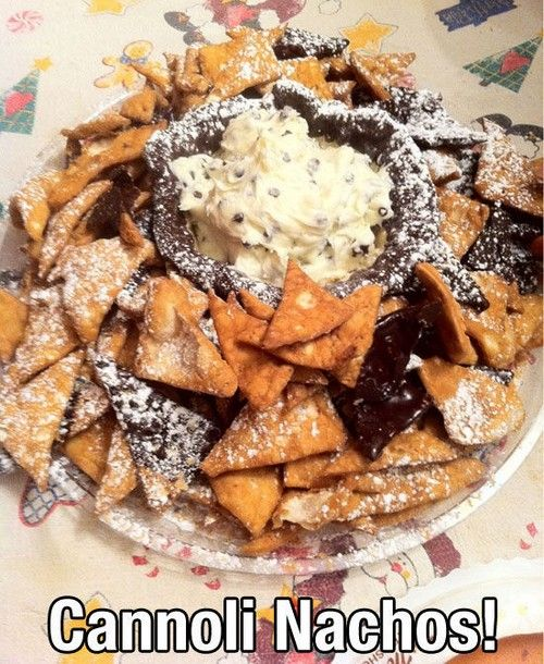 Cannoli Nachos using Cannoli Dip.  This needs to happen in my life ASAP