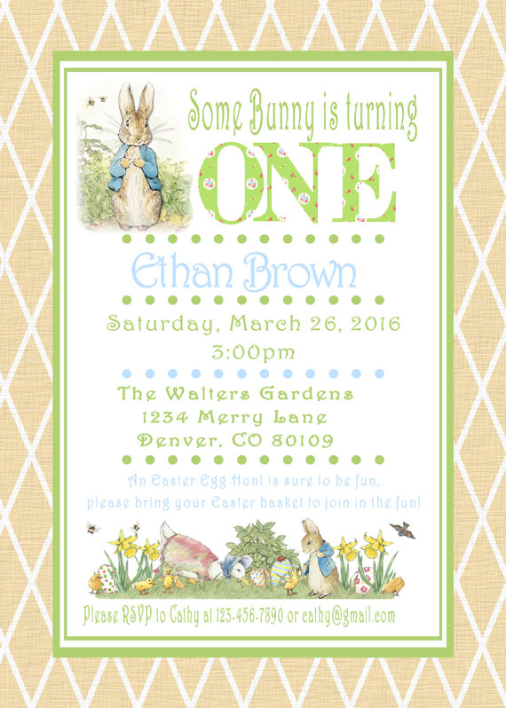 Peter Rabbit Easter Birthday Invitations Beatrix Potter Bunny Easter