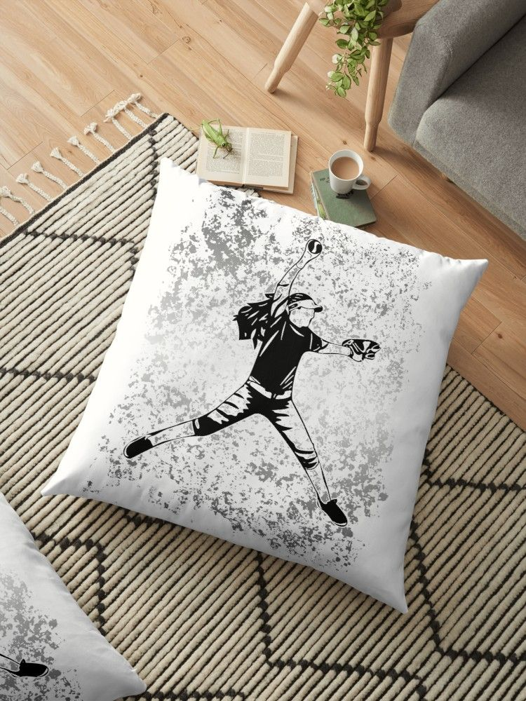 It S A Girl Thing Fast Pitch Design Floor Pillow By Purposelydesign Floor Pillows Throw Pillows Bed Unique Designs