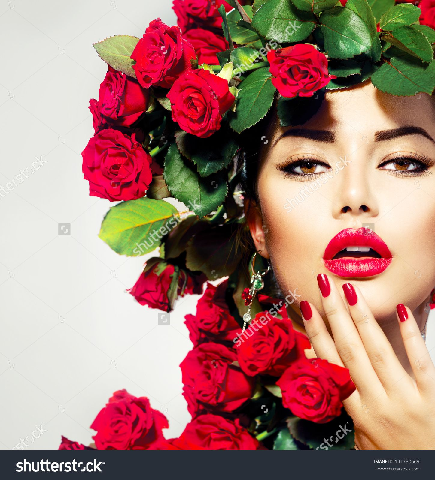Beauty Fashion Model Girl Portrait With Red Roses
