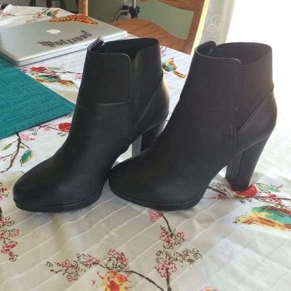 ALDO brand ankle boots Black leather, from Call It Spring (a sister store of Aldo ACCESSORIES) worn one time, minimal signs of wear, no trades please Xo Call It Spring Shoes Ankle Boots & Booties