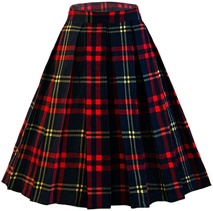 25926404e8b Dressever Women s Vintage A-line Printed Pleated Flared Midi Skirt Plaid  (red and Navy) X-Large at Amazon Women s Clothing store