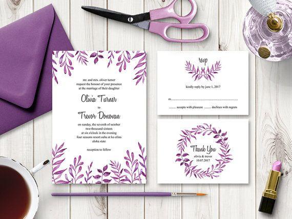 Best Value Watercolor Wedding Invitation Set Lovely Leaves Purple Diy Printable Wedding Invitations Wedding Invitation Sets Watercolor Wedding Invitations