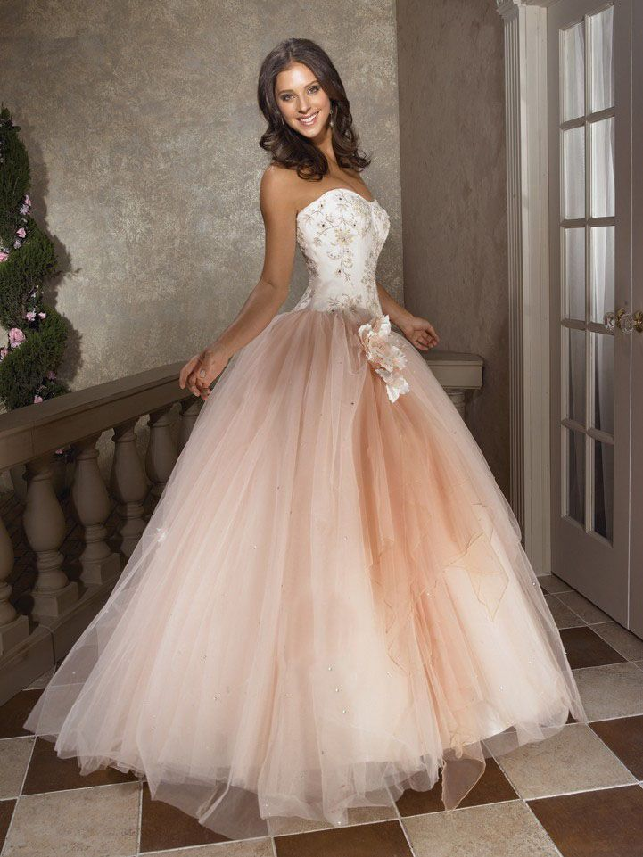 Buy Champagne ball gown embroidery corset bodice and tulle skirt ...