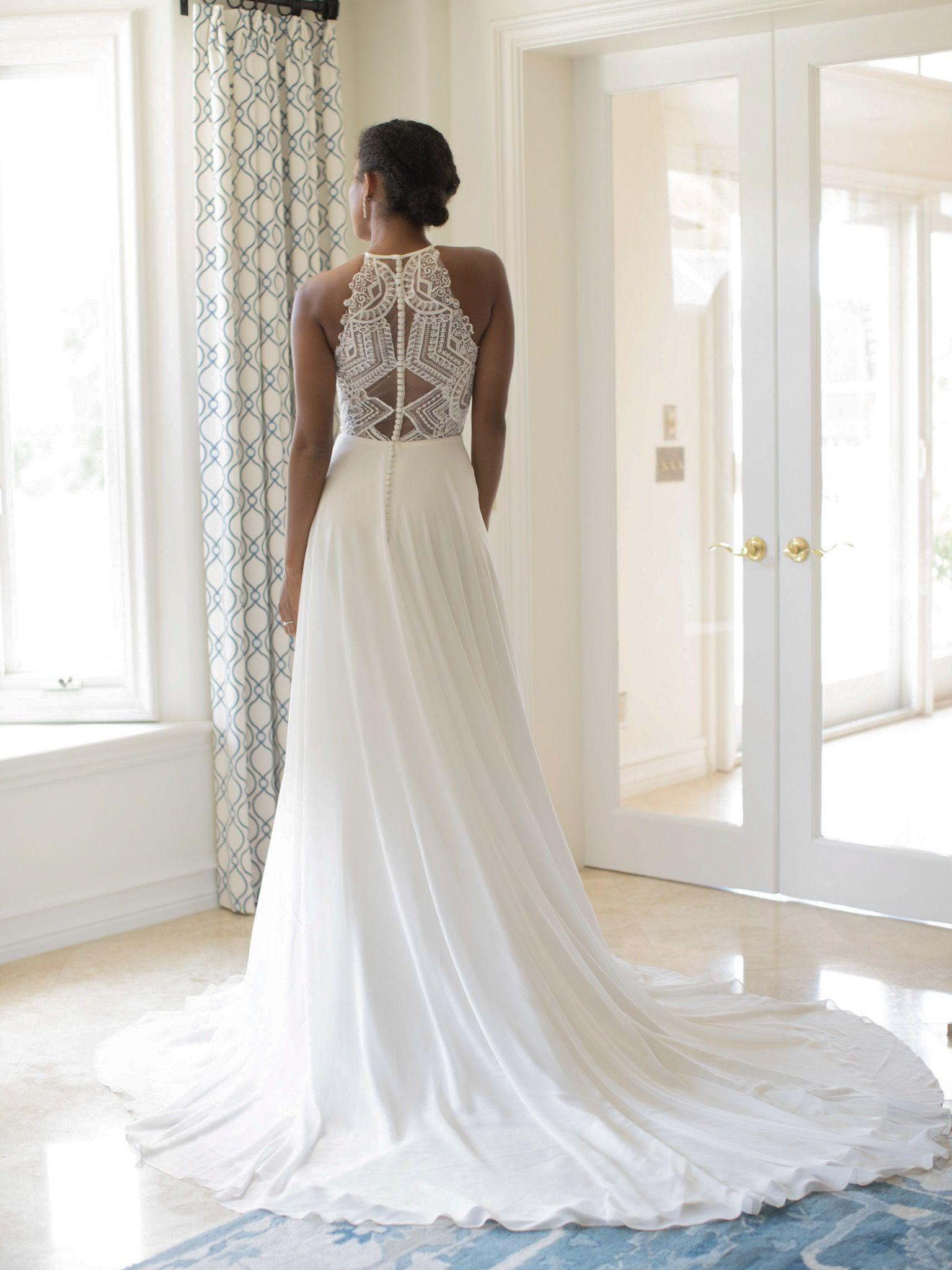 Evelyn Bridal Rylan S191305 Wedding Gown Chic Chiffon A Line Wedding Dress With A Decorati Geometric Wedding Dress Chiffon Wedding Gowns Wedding Dresses Lace [ 2048 x 1536 Pixel ]