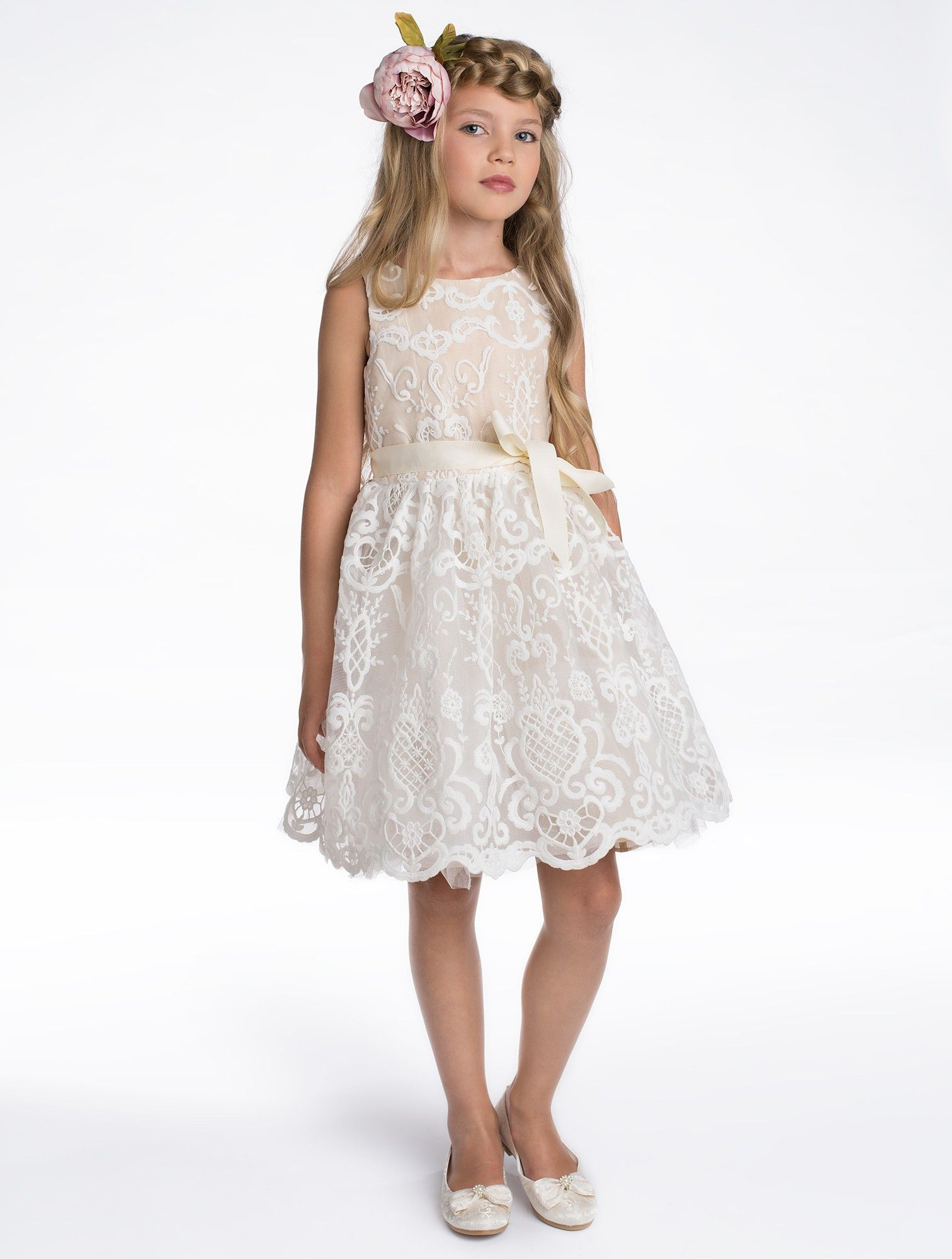 Girls champagne flower girl dress flower girl pinterest