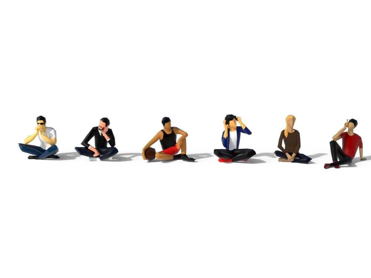 Low Poly People Sit 3D model Low poly character