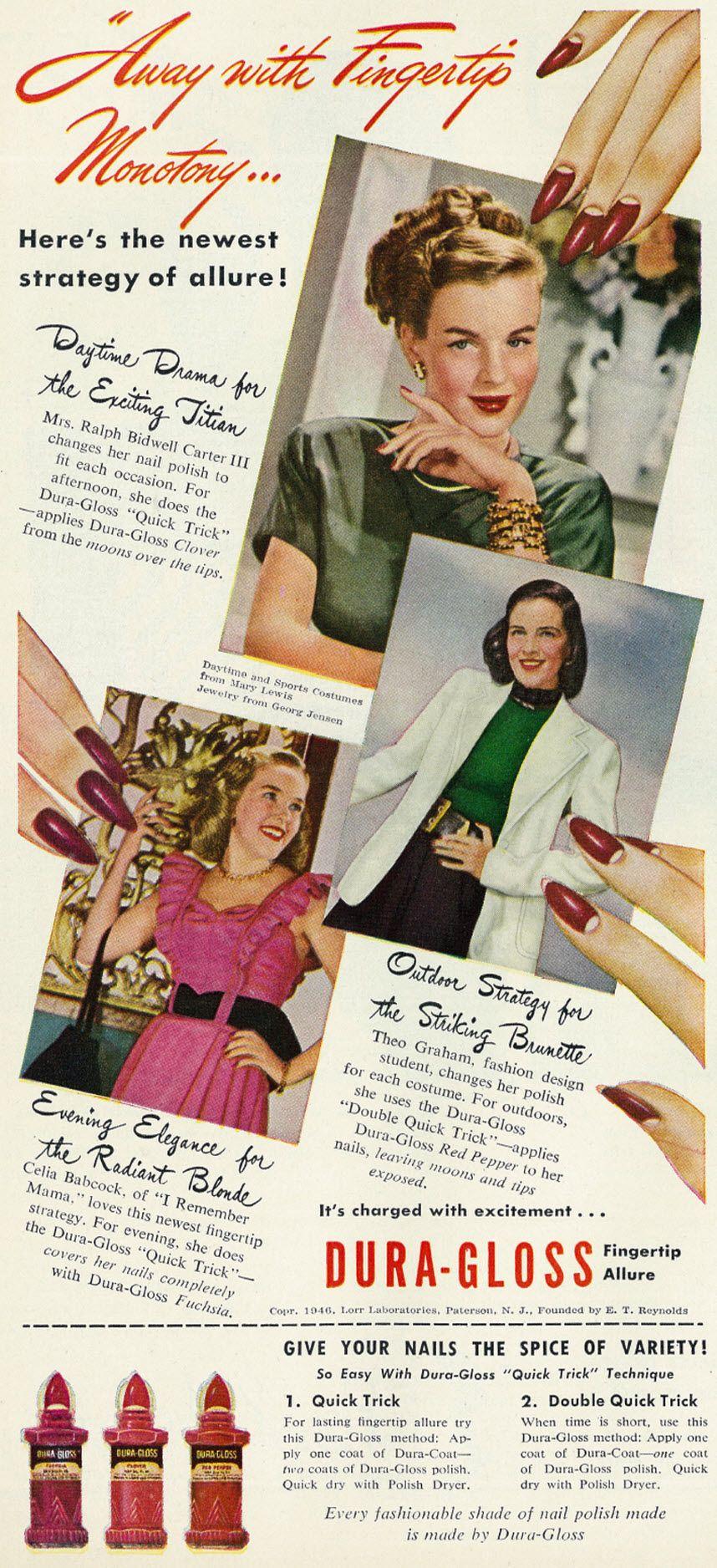 Vintage magazine ad for Dura Gloss Nail Polish, Redbook, February 1946