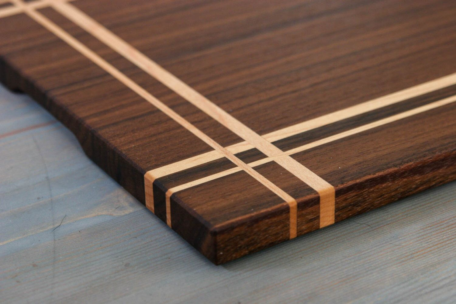Walnut Maple Wood Cutting Board Or Serving In A Striped Pattern By