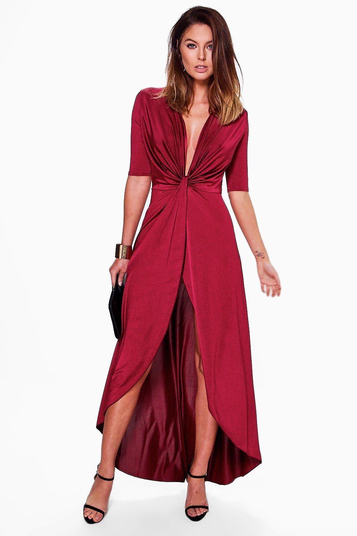 a1301184976 Vestido largo elegante con nudo por delante y bajo asimétrico jessa ...