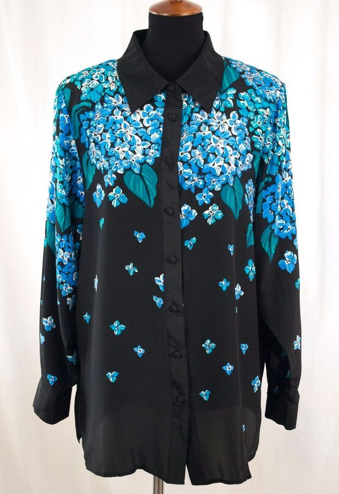 7a5f8b030627a Silk Blouse Bob Mackie Wearable Art Blue Beaded Sequin Floral Hydrangea  Large  BobMackie  Blouse  EveningOccasion
