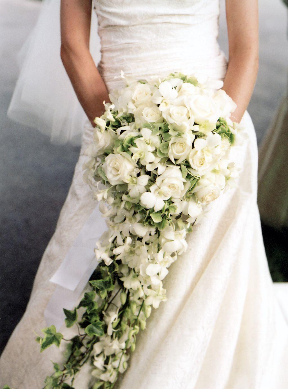 white orchid cascading bridal bouquet | Bridal bouquet ideas ...