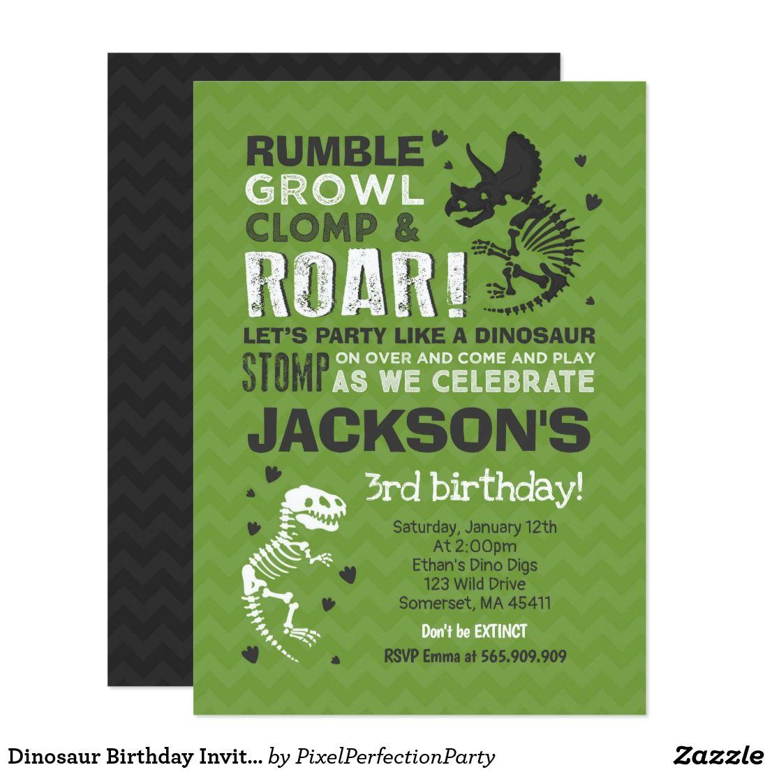 Dinosaur Birthday Invitation Dinosaur Fossil Party | Dinosaur ...