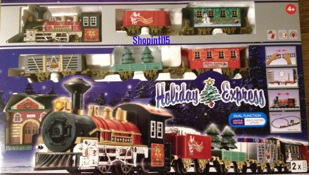 Holiday express christmas tree train set #lights/motion carriages