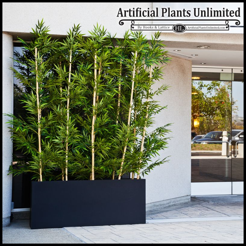 Artificial Bamboo Uv Resistant Faux In A Black Modern Planter