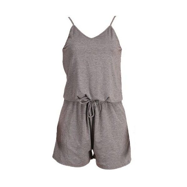 d3a98d1c410 Rotita Spaghetti Strap Grey Drawstring Waist Romper ( 26) ❤ liked on  Polyvore featuring jumpsuits