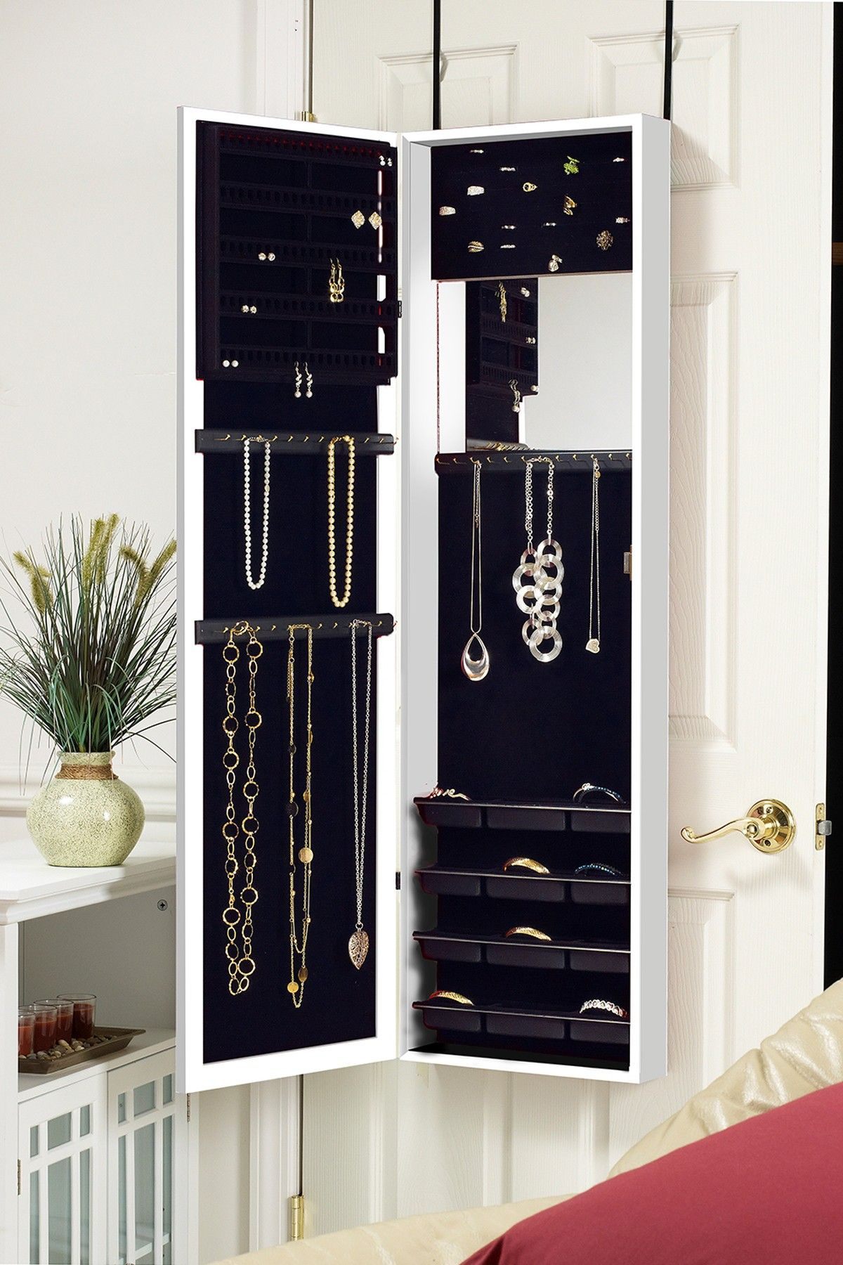 Over The Door Mirrored Jewelry Armoire White I Would Get This If It Was Not An Obvious Location For Thieves To Go Steal My Jewels