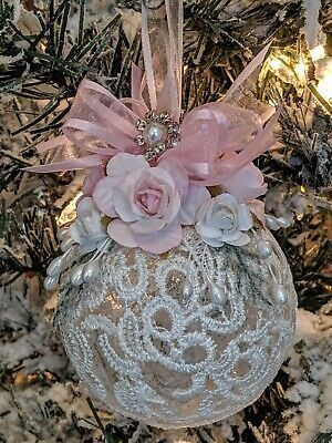 Lovely Shabby Cottage Victorian Chic Lace Pink Roses Handmade Christmas Ornament | eBay