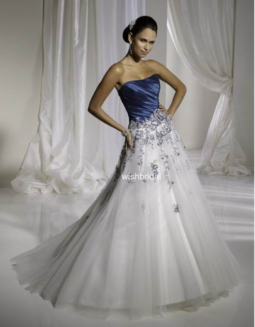 Non Traditional Wedding Dress In Colored Bodice And White Skirt Colored Wedding Dresses Blue Wedding Gowns Blue Wedding Dresses