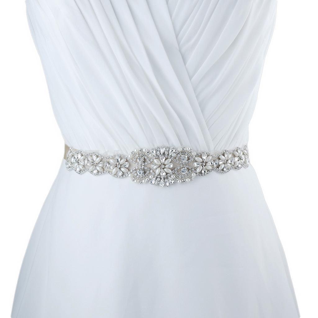 Pearl belt for wedding dress  Vintage Crystal Pearls Floral Applique Sash Wedding Bridal Dress