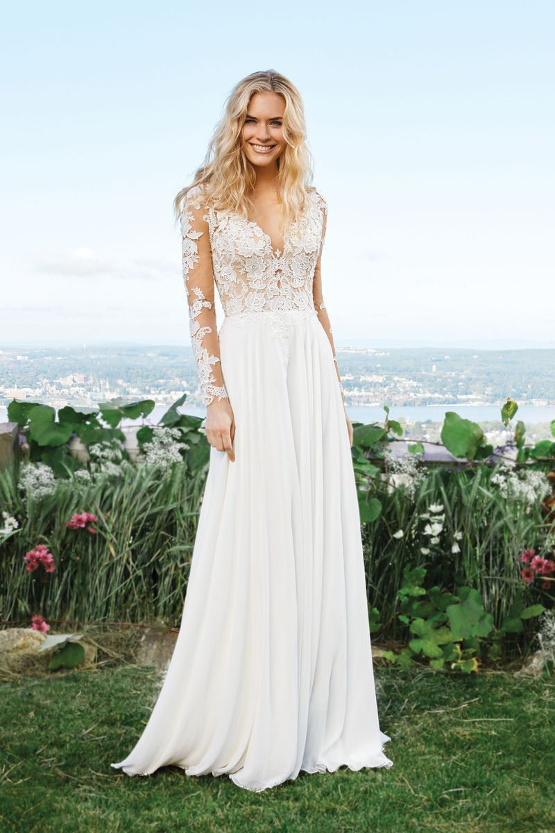 Lillian west style chiffon aline gown with lace bodice and