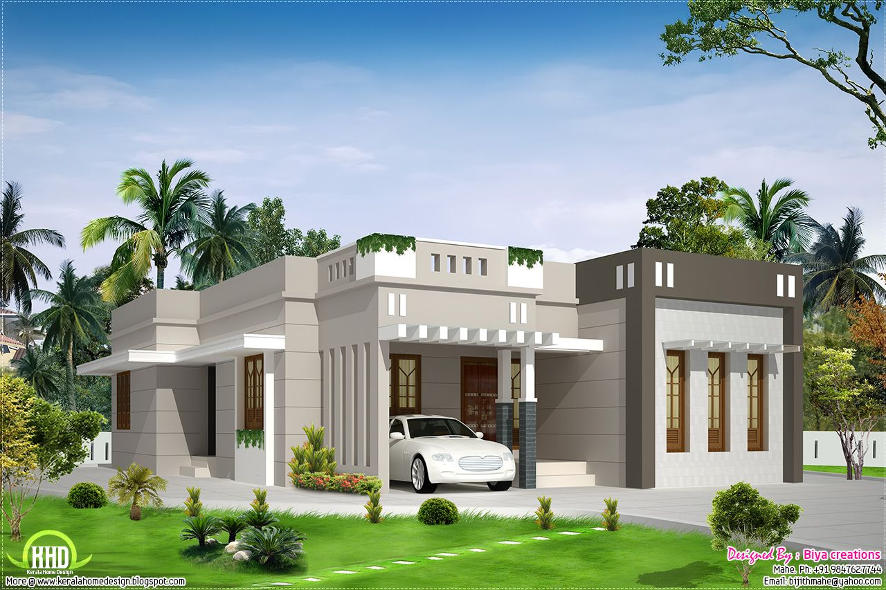 2 Bedroom Single Storey Budget House With Images Kerala House Design Flat Roof House Small House Design Plans