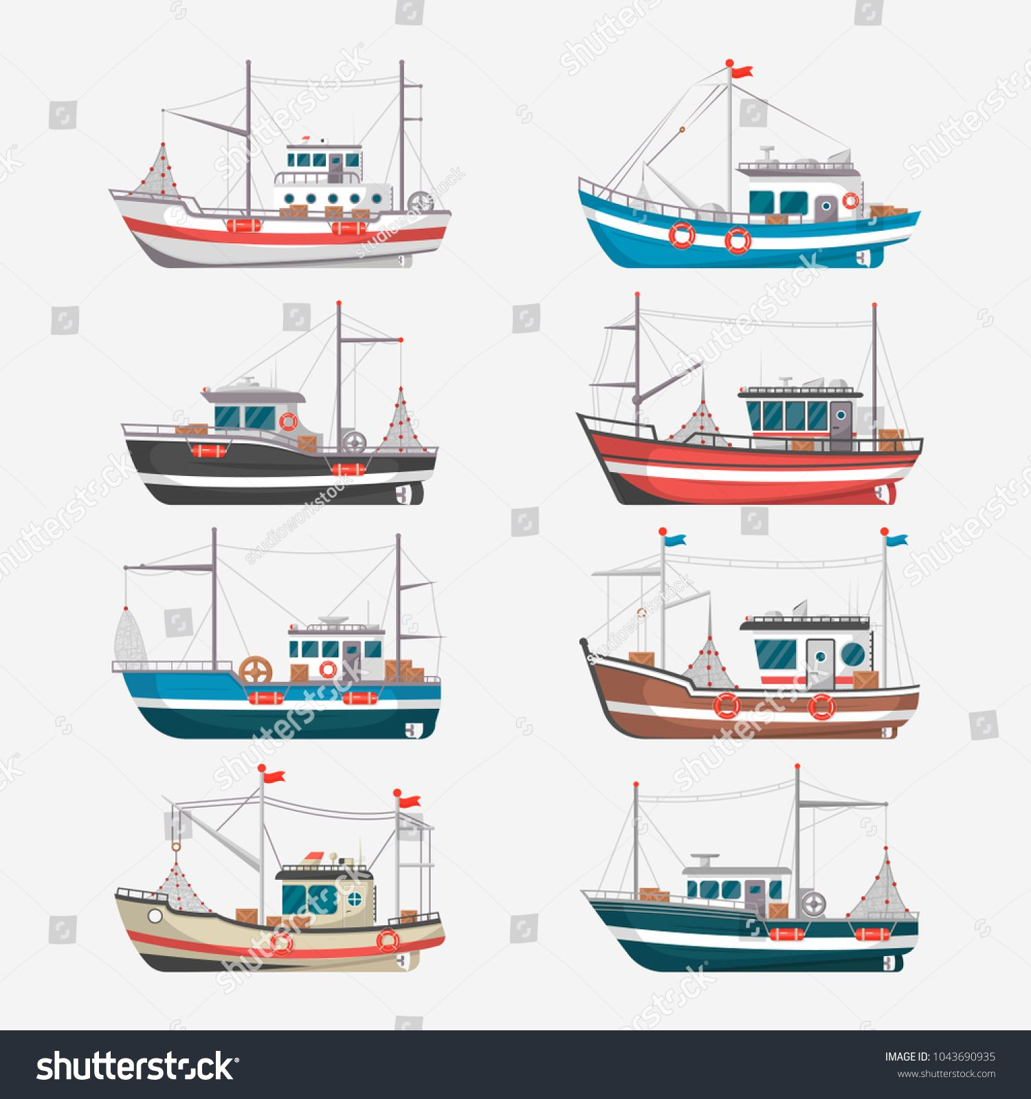 Fishing Boats Side View Isolated Set Commercial Fishing Trawlers