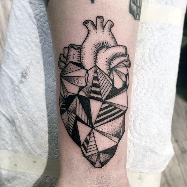 Creative Geometric Heart Guys Wrist Tattoo Ideas Geometric Heart Tattoo Tattoo Designs Men Heart Tattoo