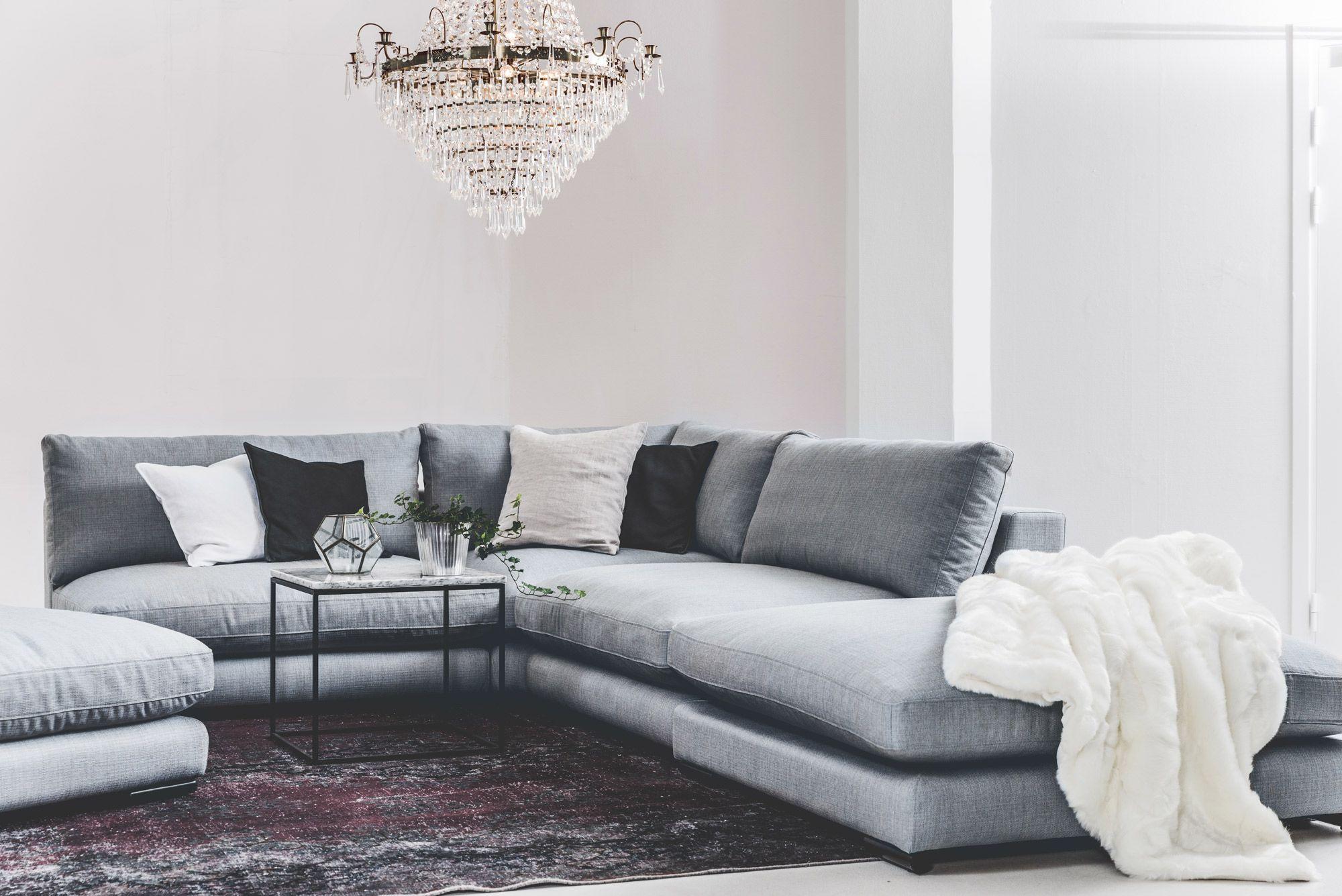 Grå Mammuten modulsoffa Divan, soffa, modul, fotpall, pläd, fuskpäls, vit, filt, vintagematta