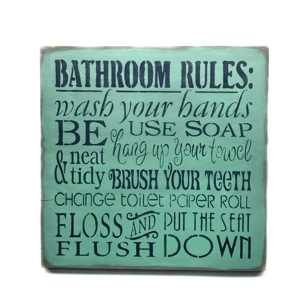 Bathroom Rules Sign, Bathroom Decor | Bathroom rules, Wood signs and ...