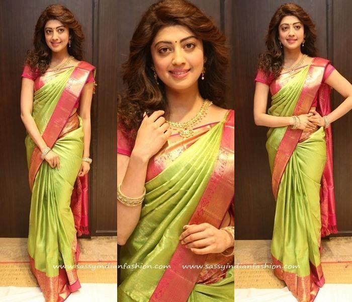 Pranitha Subhash In Green Silk Saree