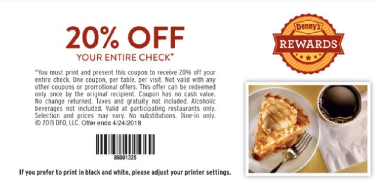 picture regarding Dennys Printable Coupons known as Dennys Coupon: 20% Off Your Total Monitor Printable