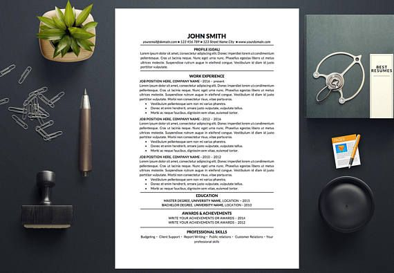 Simple Resume Template Free Resume Template Instant Download Cover     Resume template with a cover letter and references template  Get a great  resume instantly