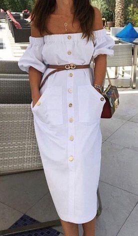 0736351d38d Sexy White Off Shoulder Button Maxi Dress | ❤ ❤ ❤ Fashionland ...