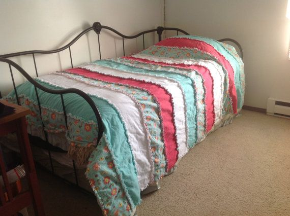 Twin Size Bed Strip Rag Quilt On Etsy Rag Quilts Pinterest